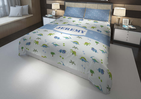 dinosaur boys bedding set thats personalized for king bed