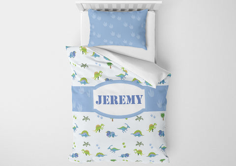 dinosaur boys bedding set thats personalized for toddler