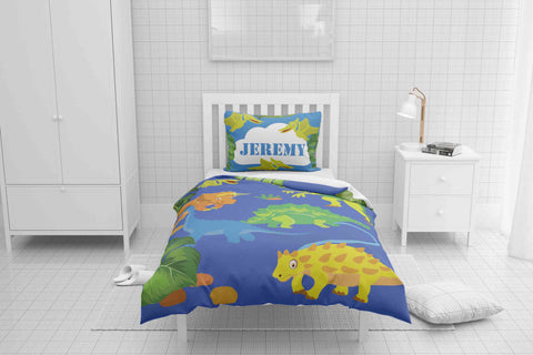 Friendly Dinosaurs #8 Boys Bedding Set Comforter & Duvet -Twin,Full,Toddler,Queen