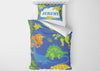 Image of custom dinosaur toddler bedding set with comforter