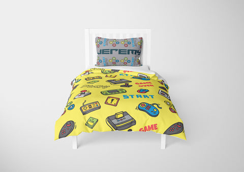personalize video game bedding set with comforter for toddler bed