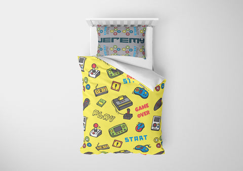 personalize video game bedding set with comforter for twin xl bed