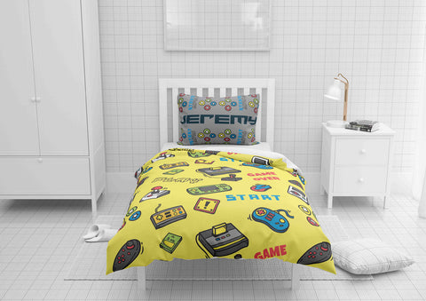 personalize video game bedding set with comforter cover for full bed