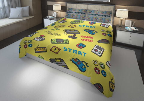 personalize video game bedding set with comforter for king bed