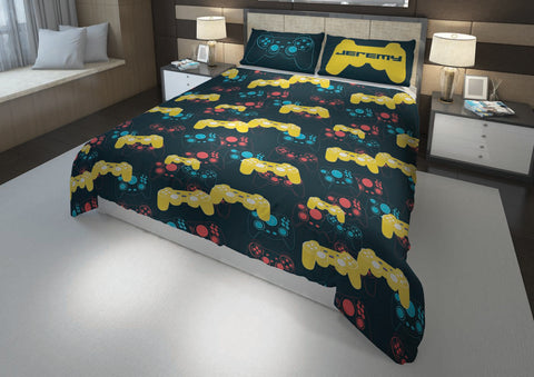 personalized video gaming comforter bedding set for queen bed