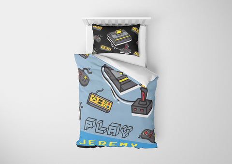 personalized videogamer toddler twin bedding set and duvet