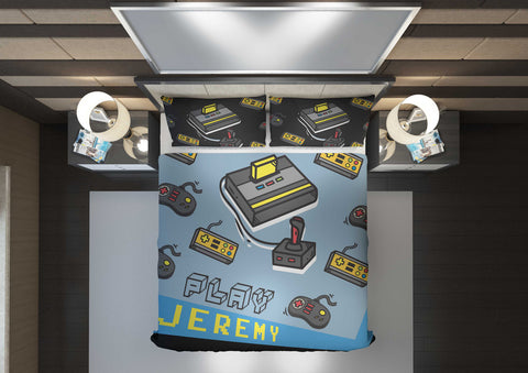 personalized videogamer comforter bedding set for queen bed