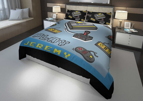 personalized videogamer comforter bedding set for king bed