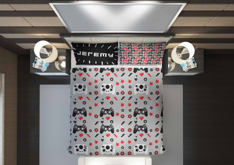 personalized videogaming bedding set for boys queen bed