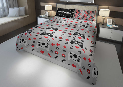 personalized videogaming bedding set for boys king bed