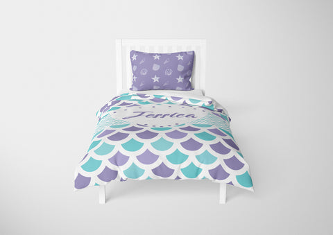 personalize mermaid twin xl bedding set for girls