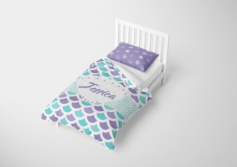 personalize mermaid twin bedding set for girls