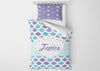 Image of personalize mermaid toddler bedding set for girls