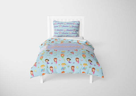 personalized girls mermaid bedding set for twin bed and comforter