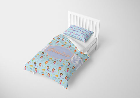 personalized girls mermaid bedding set for twin xl bed and comforter