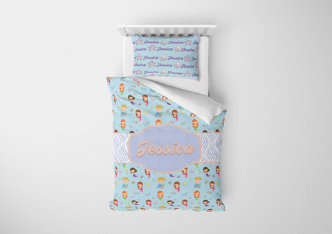 personalized girls mermaid bedding set for full bed and comforter
