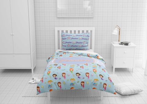 personalized girls mermaid bedding set for toddler bedsize with duvet