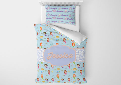 personalized girls mermaid bedding set for toddler bed and comforter