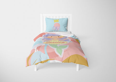 personalized mermaid bedding set for girls in twin bed