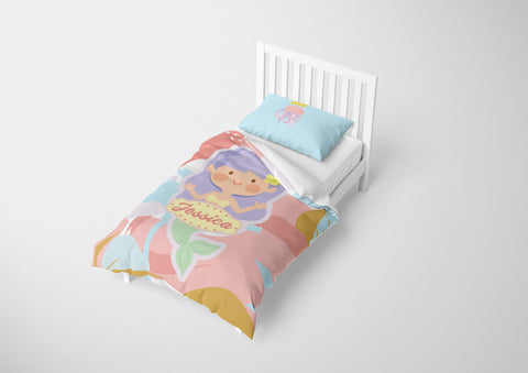 personalized mermaid bedding set for girls in twin xl bed