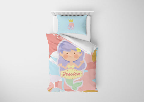 personalized mermaid bedding set for girls in full bed