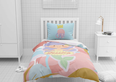 personalized mermaid bedding set for girls in toddler comforter and duvet