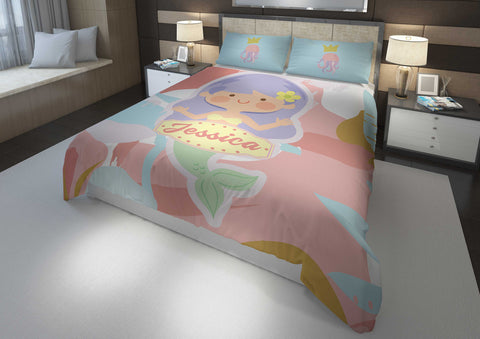 personalized mermaid bedding set for girls in king bed