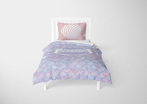 custom mermaid bedding set for girls in toddler bed with comforter and duvet