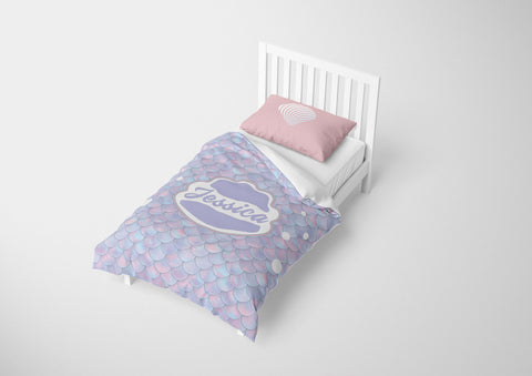 custom mermaid bedding set for girls in full bed with comforter
