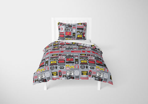 personalized boys comforter bedding set for twin cover with video gamer theme