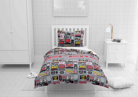 personalized boys comforter bedding set for twin bed with video gamer theme