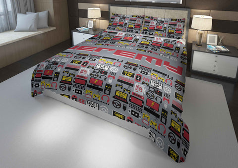 personalized boys comforter bedding set for queen bed with video gamer theme
