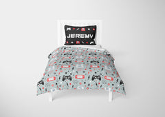 personalized video gamer toddler bed set with comforter
