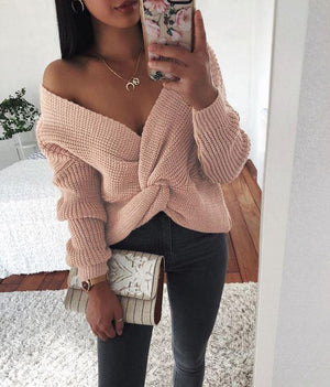 One+Beau Wrap Knitted Long Sleeve Pullover Sweater