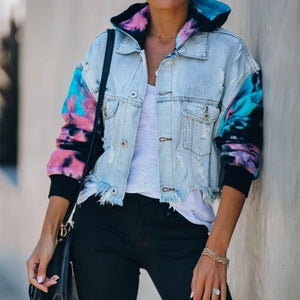 One+Beau Patchwork Tie-dye Printed Denim Jacket