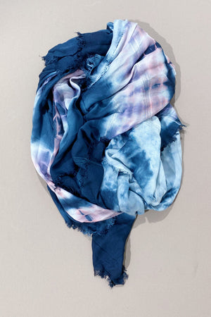 One+Beau Retro Aspect Scarf in Tie Dye Navy