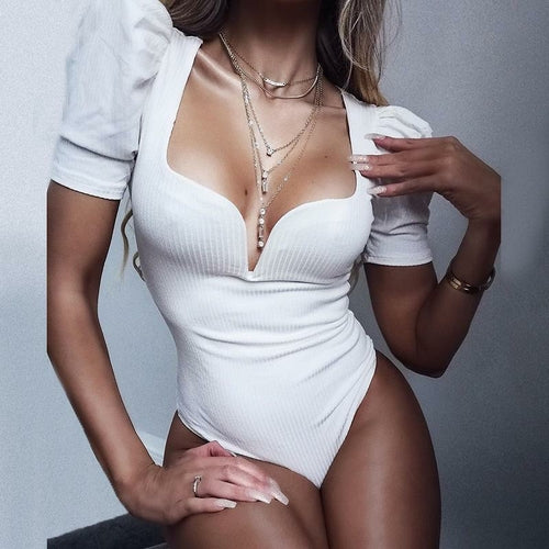 One+Beau Vintage Sexy Solid White Black Bodysuits Women Summer Party Club