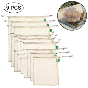Eco-Friendly Cotton Produce Bags - Reusable Washable Biodegradable - Set of 9 in 3 different sizes - V Vault