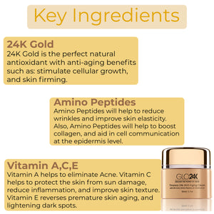 Timeless 24k Anti-Aging Cream with 24k Gold, Amino Peptides &Vitamins A,C,E