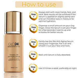 Timeless 24k Anti-Aging Serum with 24k Gold, Amino Peptides & Vitamins A,C,E
