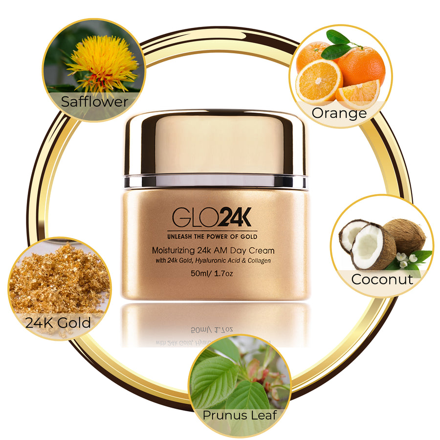 GLO24K Moisturizing 24k AM Day Cream -with 24k Gold, Hyaluronic Acid & Collagen