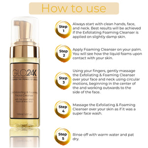 24K Exfoliating & Foaming Facial Cleanser with 24k Gold, Witch Hazel & Aloe Vera