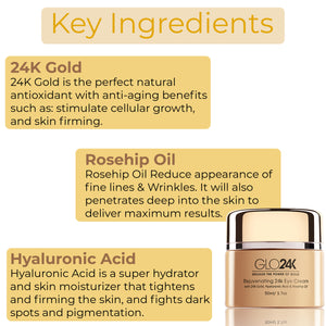 Rejuvenating 24k Eye Cream-with 24k Gold, Hyaluronic Acid & Rosehip Oil