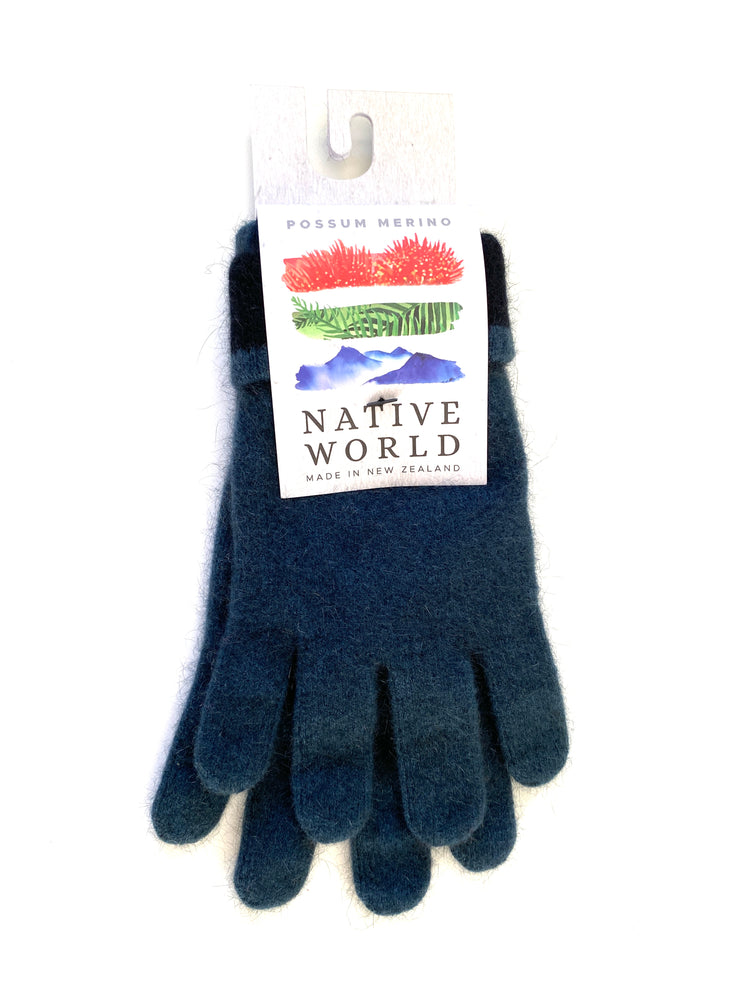 Load image into Gallery viewer, Smoky Blue Gloves: Possum & Merino Wool, Made in New Zealand