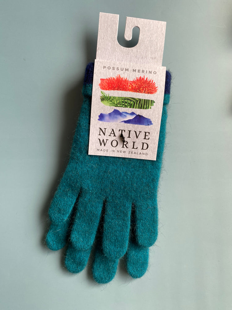Load image into Gallery viewer, azure teal gloves merino possum made in new zealand