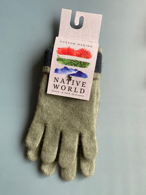 Load image into Gallery viewer, green merino wool possum gloves made in new zealand