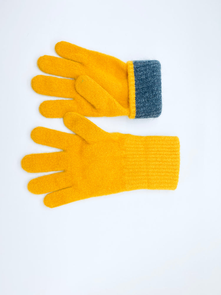 yellow merino wool possum gloves made in new zealand