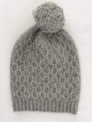Load image into Gallery viewer, Hat: Merino Wool + Possum Arran Knit PomPom Hat, Made in New Zealand