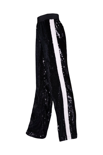 Sequin Joggers - Black With White Stripe