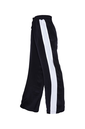 Classic Silk Joggers - Black With Wide White Stripe